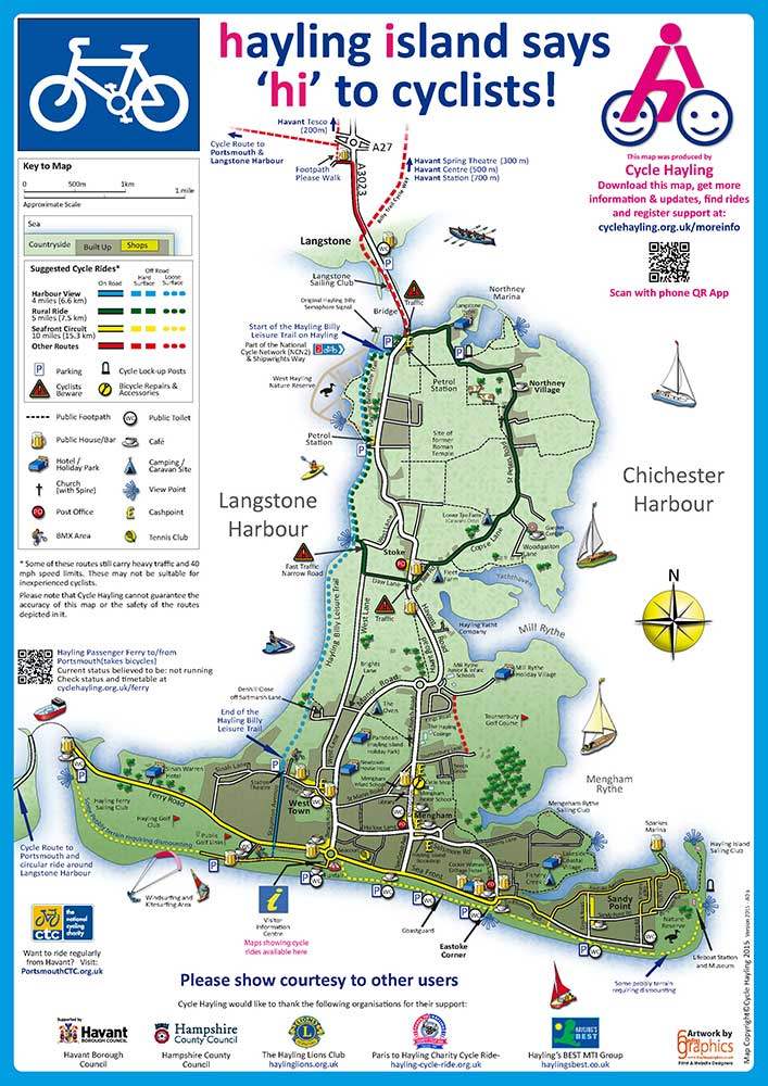 Map Of Hayling Island Cycle Map of Hayling Island :: Hayling Graphics Limited
